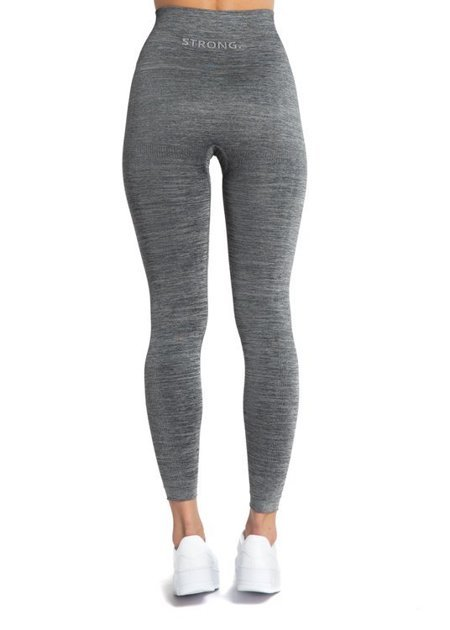 STRONG. - LEGGINSY BEZSZWOWE GREY MELANGE (PUSH UP)