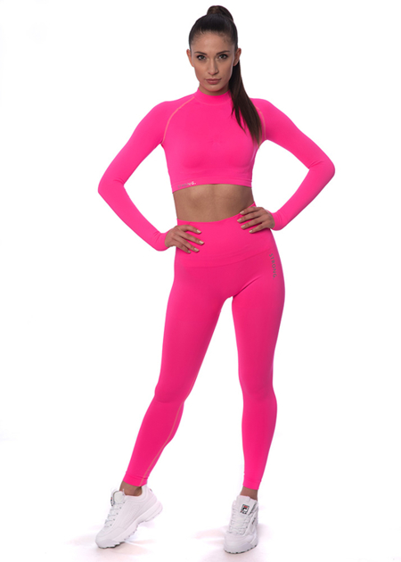 STRONG. - LEGGINSY BEZSZWOWE NEON PINK (PUSH UP)
