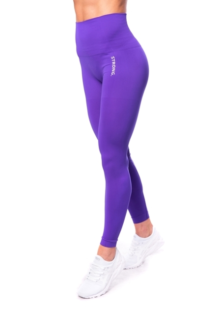 STRONG. - LEGGINSY BEZSZWOWE ULTRA VIOLET, LOGO (PUSH UP)